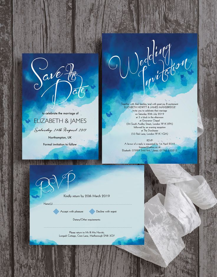 destination wedding invitation rsvp date%0A Modern blue watercolour   watercolor wedding stationery by Hip Hip Hooray   With a beautiful ombre paint effect in shades of blue  white and grey with  modern