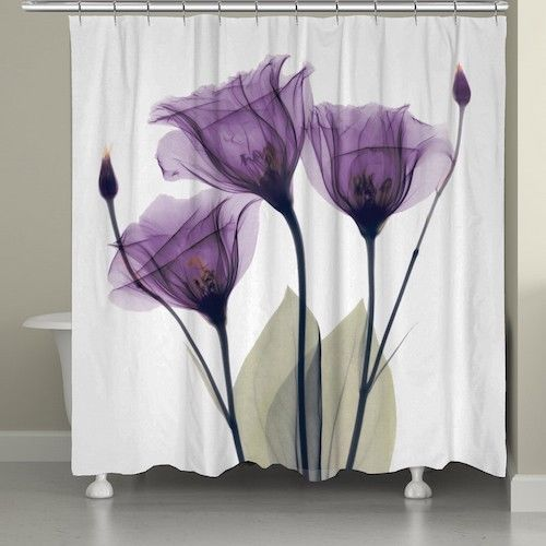 "Lavender Shower Curtain Machine Washable Silky Polyester 71"" x 74"" Elegant House #FloralTulips"