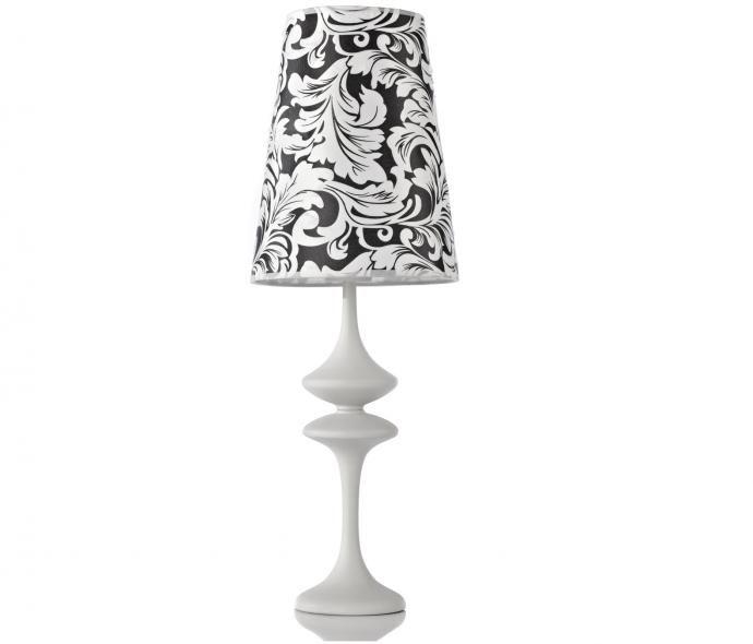 2500 Тканевый абажур (диаметр 20 см, высота 26 см) ; основание железо, окрашенное в белый цвет. Настольная лампа Isabella