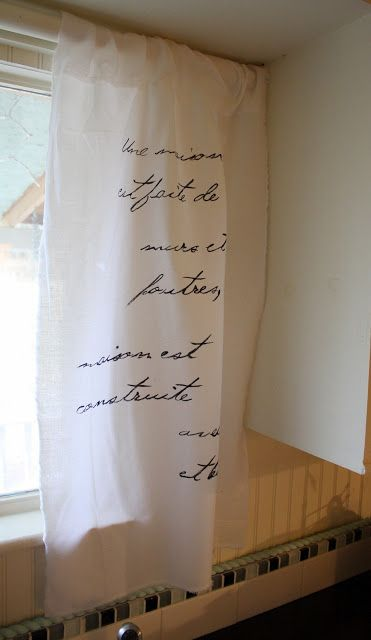 DIY French Script Curtains - make them for five dollars. www.theshabbycreekcottage.com