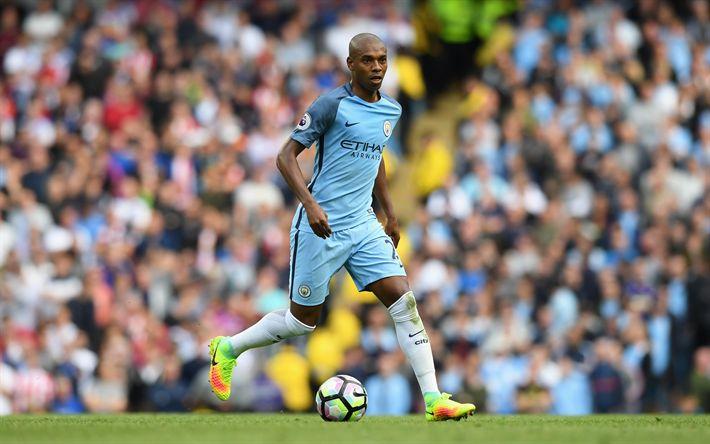 Télécharger fonds d'écran Fernandinho, Manchester City, le football, l'Angleterre, la Premier League, footballeur Brésilien, Luiz Fernando Roza