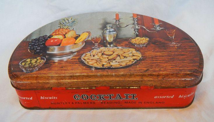 VIntage Retro Huntley & Palmers Cocktail Biscuit Tin - 1969 | eBay