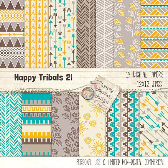 Tribal Digital Paper *Happy Tribal Backgrounds 2* arrows and Aztec geometric style patterns in turquoise, yellow, brown, teal, gray! on Etsy, $4.50