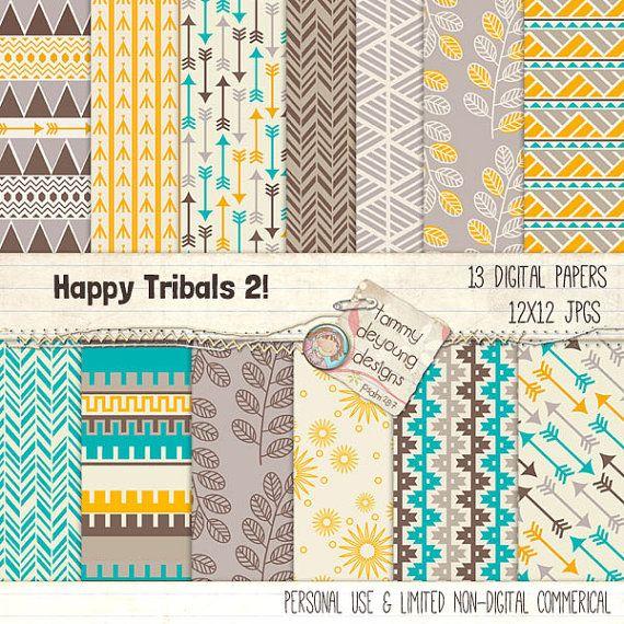 Flechas de papel Digital Tribal Azteca orígenes por songinmyheart