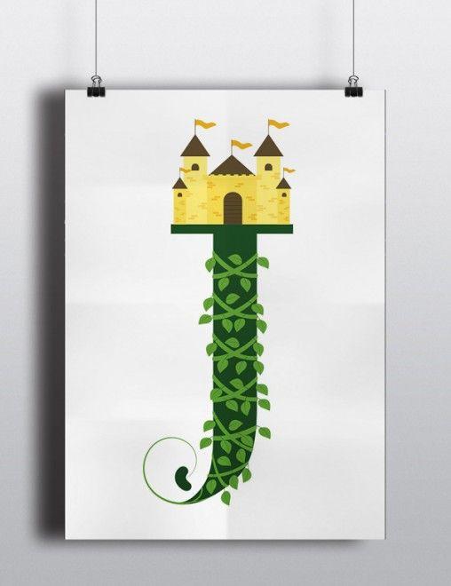 Posteres tipograficos que parecem ter saido de contos de fadas. #Type #JackandtheBeanstalk