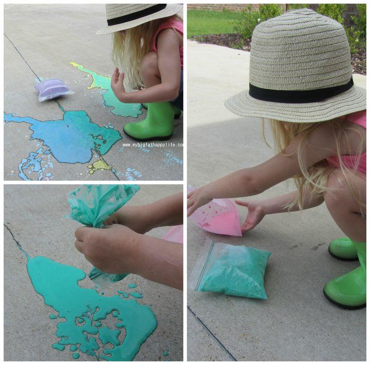 Exploding Chalk Paint #chalk #scienceexperiment #messyplay | mybigfathappylife.com