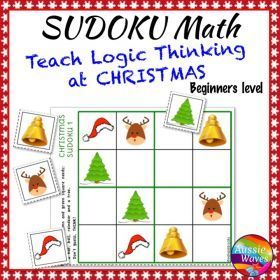 Grade / Year Level :: Primary Education :: Foundation - Year 2 :: CHRISTMAS Math Activities Kindergarten SUDOKU Puzzles Logical Thinking Easy