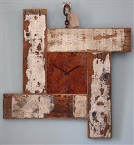 Beach inspired large wall clock - Drift wood, rustic, distressed paint, timber, rusted, steel, chain hanging