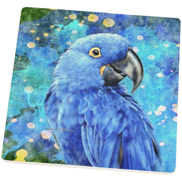 Blue Hyacinth Macaw Splatter Set of 4 Square Sandstone Coasters