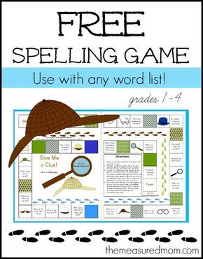 Free Spelling Game for Grades 1-4 — Use with any word list from The Measured Mom