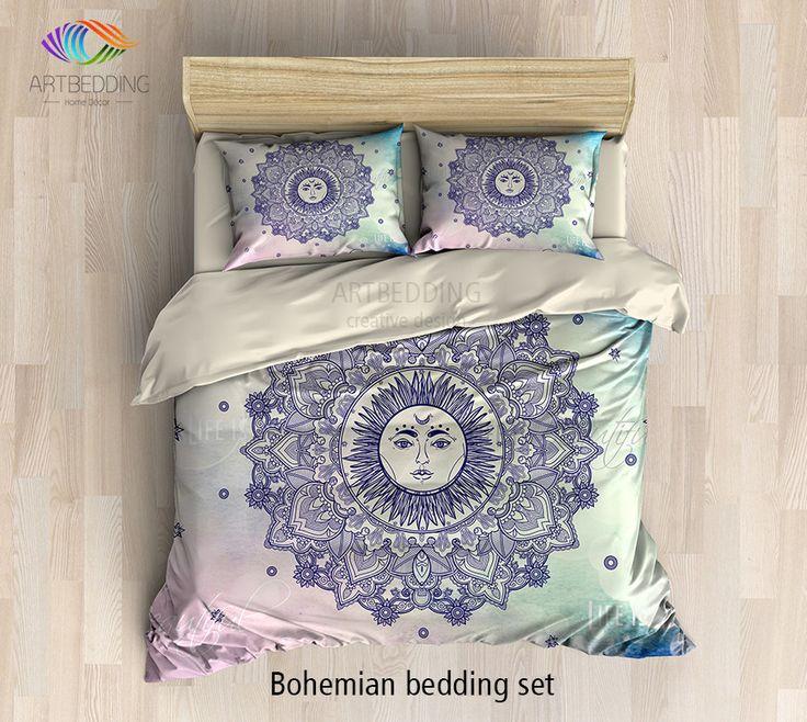 Bohemian bedding, Sun Mandala bedding set, Bohochic rustic bedroom, bohemian vintage decor