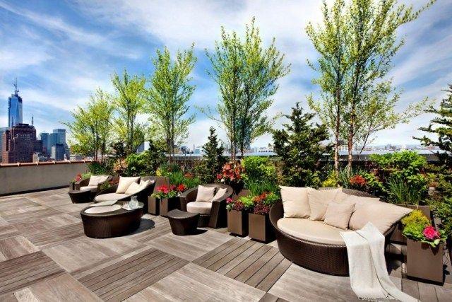 Holzverkleidungen Dachterrasse Dachterrasse \ Sichtschutz - dachterrasse gestalten stadtoase wasserspielen miami