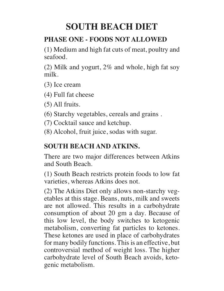 """South Beach Diet - Phase 1 (continued).   Diet reviewed by Richard A. Price, author of """"How I Lost 80 Pounds with Smart Carb Eating"""" and """"Glycemic Matrix Guide to Low GI and GL Eating""""."""