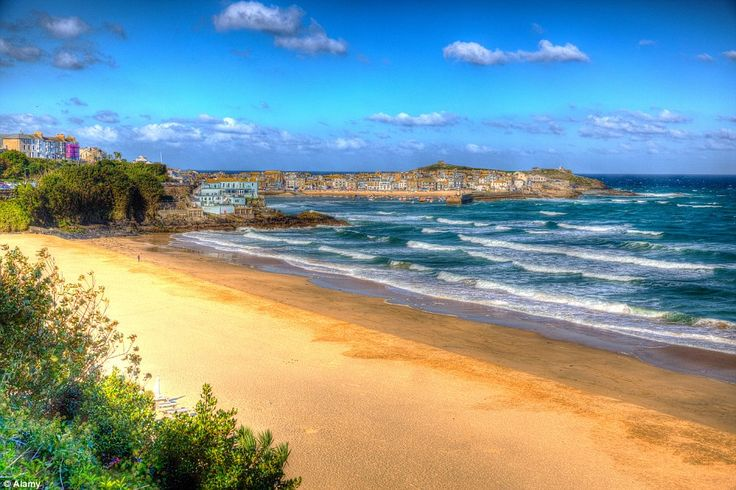 Picture perfect: Porthminster beach in St Ives, Cornwall, which was voted the third best beach in the UK, boasts golden sands and clear wate...