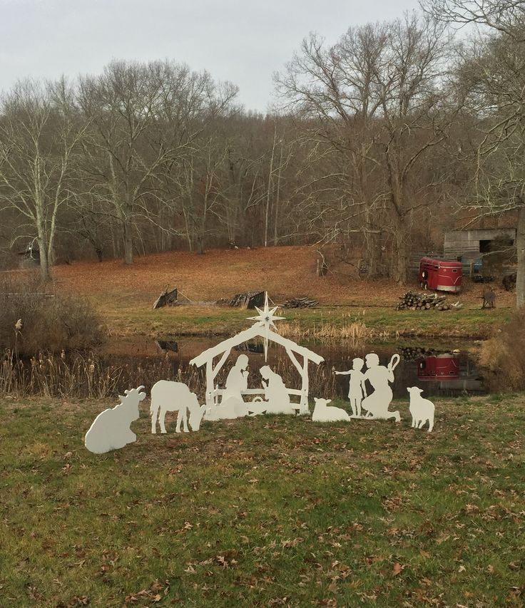 MyNativity.com Outdoor nativity set with Ox, Donkey and Father/Son Shepherd Set