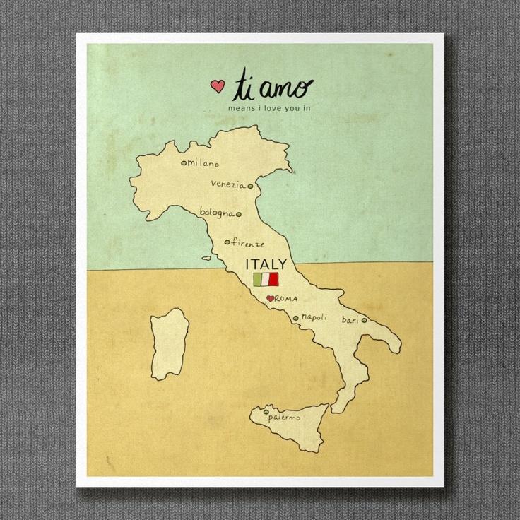 I Love You in Italy 8x10 / Typographic Print, Italian Map, Giclee, Modern Baby, Nursery Art, Illustration, Travel Theme, Digital Print. $20.00, via Etsy.