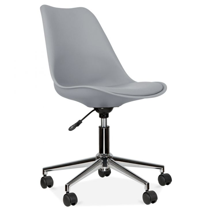 Eames Inspired Office Chair With Soft Pad Seat - Cool Grey