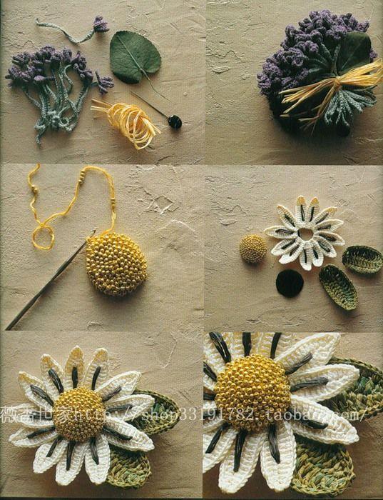 3-D crochet flower