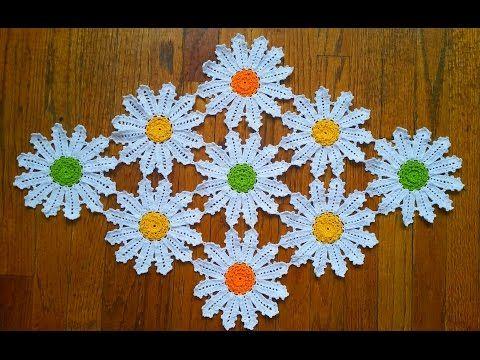 ▶ Flor para centro ó camino de mesa y mantel en crochet - YouTube                                                                                                                                                                                 Más