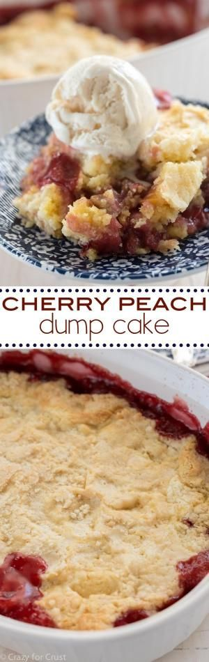 This Cherry Peach Dump Cake is the perfect easy and fast potluck recipe! It's simple and cheap to make with only 5 ingredients! by robindu