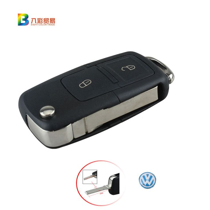 2 Buttons Remote Flip Folding Car Key Shell Replacement Car Key Case Cover for VW Volkswagen Golf MK4 Bora With logo