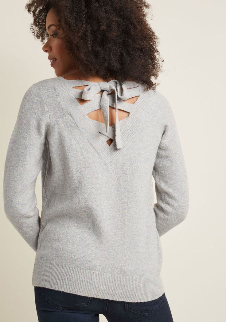 V-Neck Sweater with Lace-Up Back in XXS - Long Pullover Waist by ModCloth