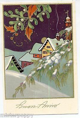 ART DECO Buon Anno Paesaggio innevato con Casetta gialla PC Circa 1930