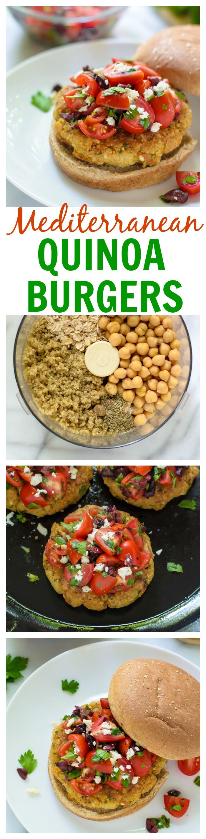 Meat-lover approved! Mediterranean Quinoa Burgers. Crispy, fresh, and great leftover too. http://www.dailyquinoa.com