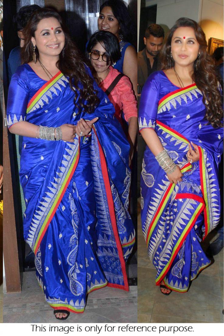 Buy Bollywood Style Rani Mukerji Silk Georgette  Blue Colour Saree  #bollywood #RaniMukherji #NeonColors