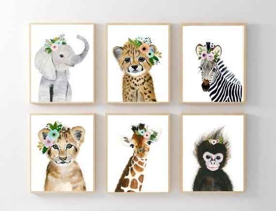 Animales bebé africano impresión de guardería Set 6 Safari