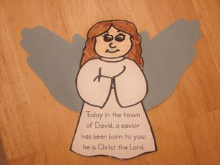 This is a Bible Verse Angel with Handprints.    Children can print up the angel, color it to look  like themselves, then use their own handprints  to make the wings.  You can also add in a bit of  glitter and pipe cleaner for a halo if desired.    The angel has the verse from Luke 2:11.