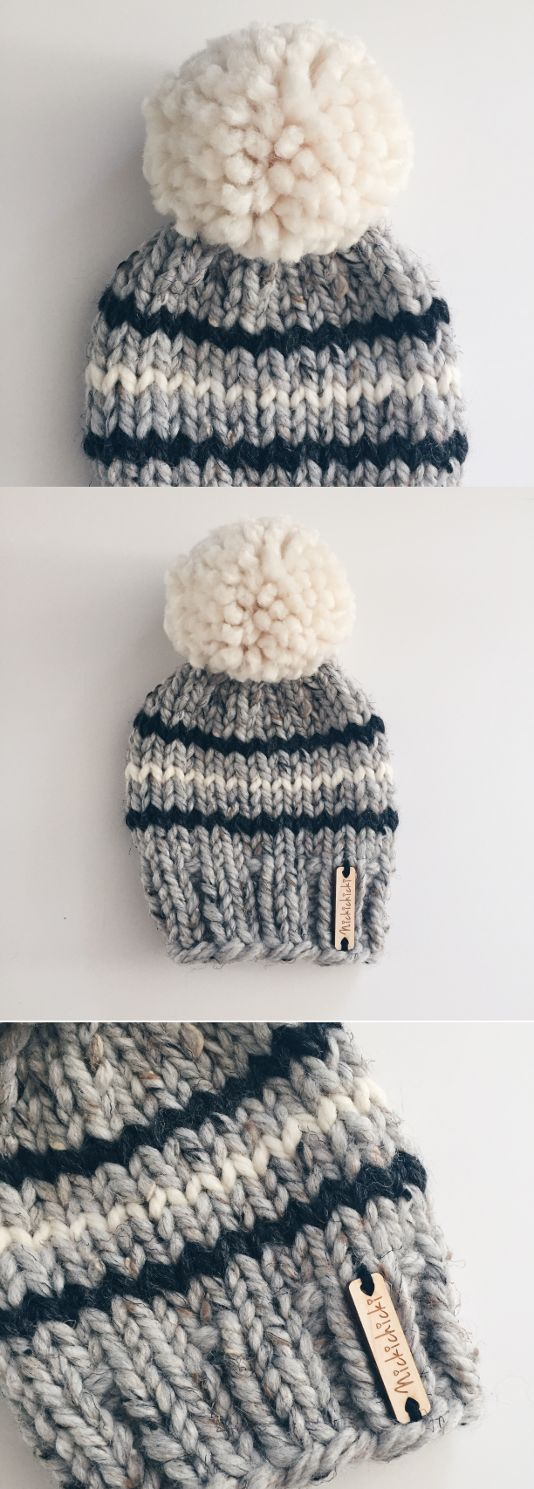 newborn baby hat, baby winter beanie, neutral baby hat, grey and white baby beanie, pompom baby hat, baby shower gift, handmade, nickichicki, winter baby, fall baby, chunky knit hat, big pompom, large pompom