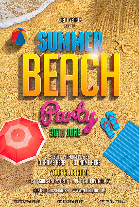 15 best images about Party – Beach Party Flyer Template