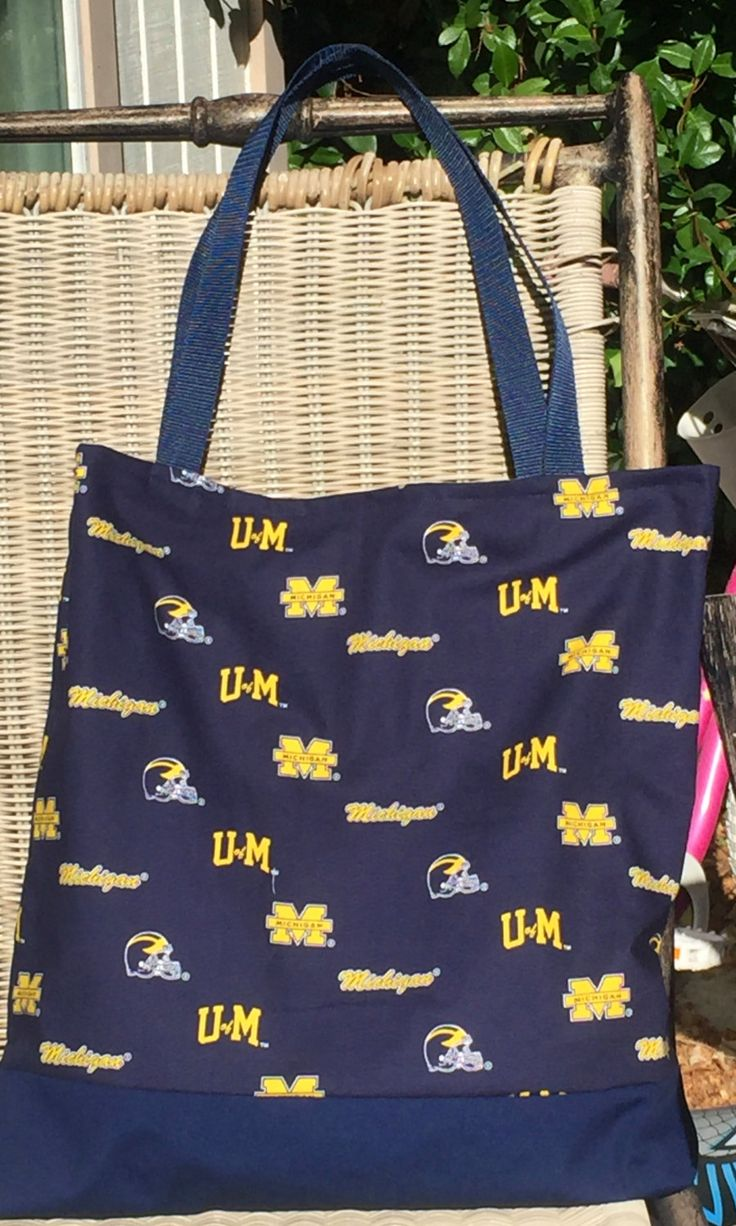 Michigan Football, University of Michigan, Tote Bag, Purse, Football, Sports, Custom Shopping Bag, lined Cotton Market Bag, web straps by designsbyfancyrose on Etsy