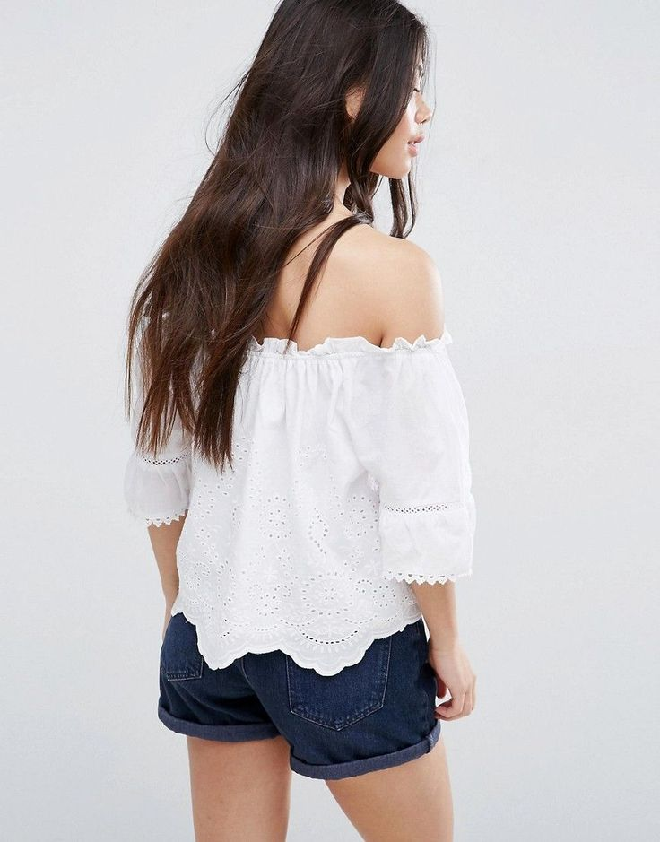 New Look Petite Cutwork Bardot Top - White