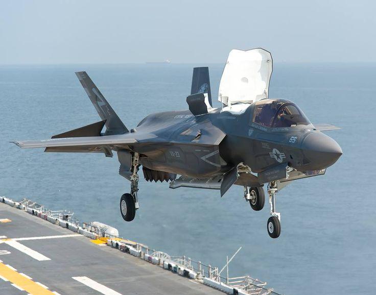A F-35B Lightning II aircraft lands aboard the USS WASP.