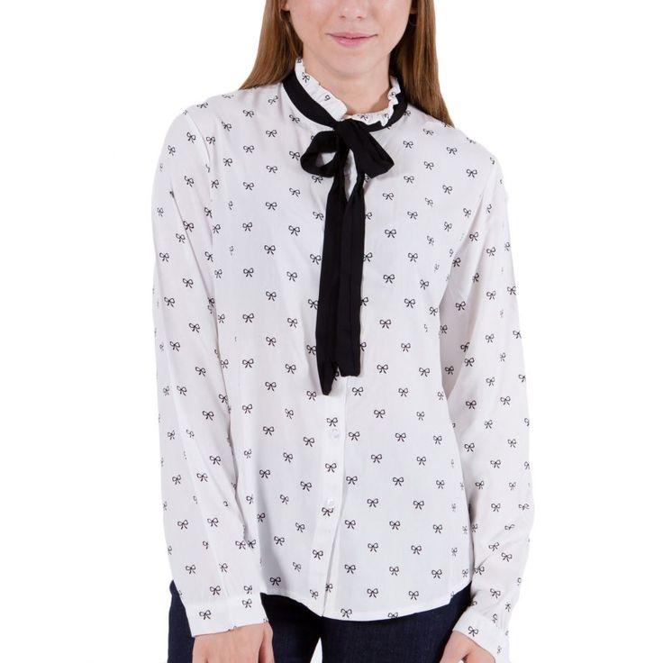 ATTRATTIVO Γυναικείο ασπρόμαυρο μακρυμάνικο πουκάμισο, κλείσιμο με φιόγκο