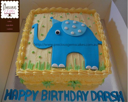Elephant cake for a first birthday! Eggless Chocolate cake covered in buttercream icing made by http://www.preciousgemscakes.com.au