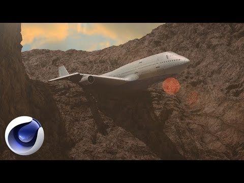 Киношная сцена с самолетом в Cinema 4D. - YouTube