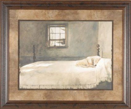 Master Bedroom Andrew Wyeth 25x21 Gallery Quality Framed Print Dog Sleeping Bed