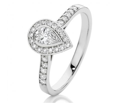 This 18ct white gold engagement ring is set with a pear shaped centre stone surrounded by grain set diamonds. It has 1/2ct of diamonds TDW and is a contemporary design that has been crafted for a superior finish