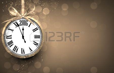 2016 Nov rok zlat pozad s vinobran hodiny Vektorov ilustrace s m stem pro text  Reklamní fotografie