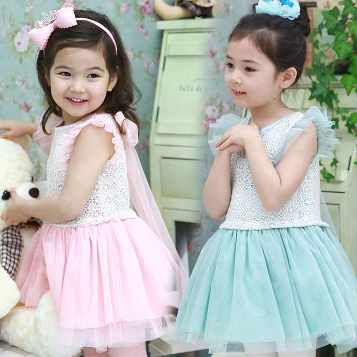 Красивый парень девочки ребенок - цельный платье марли ребенок пуховкой детскую одежду обратно повязку принцесса кружевном платье