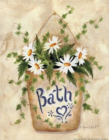 Daisies in the Bath by Annie Lapoint. I paint on empty glass candle jars, cups and plates, but think I'm gonna try my hand at painting on canvas. I (Karen)  learned from Donna Dewberry. I love to paint with the One Stroke Painting Technique.