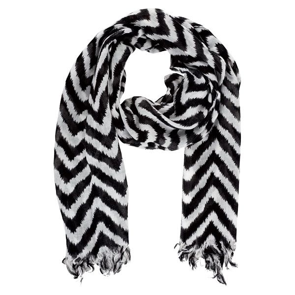 "black and white scarves | Black and White Chevron Scarf Fringed 18x70"" Price $15.95"