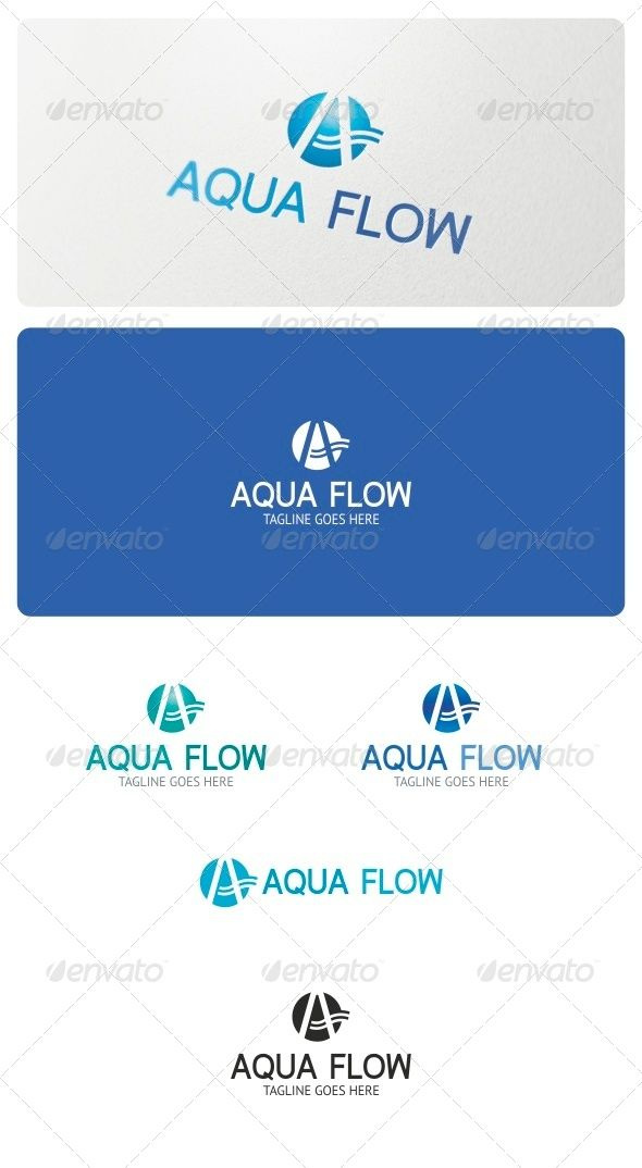 "Aqua Flow Logo Template  #GraphicRiver         Aqua Flow Logo is highly suitable for businesses related to water, services, Plumbing, Pumps, Irrigation, Water Treatment, Drain Services and other various businesses that use the ""A"" symbol for the identity.  Features:  3 Vector files included: AI, EPS, and CDR   3 Color variations   1 Grayscale Version  1 Black & White version  Organized and named layers     Fonts used:   Fineness  PT-Sans     If you have any problems with your purchase feel…"