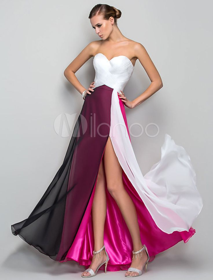 Strapless Maxi Dress Color Block Split Chiffon Dress