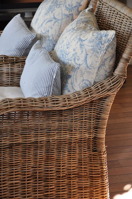 blue, white and wicker