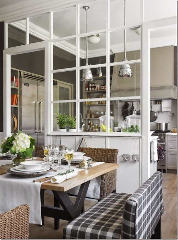 chic #farmhouse dining room | wicker + plaid + white Love the feeling of two seperate rooms