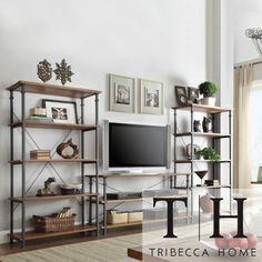 Tribecca Home Myra Vintage Industrial Modern Rustic 3-piece TV Stand/ 40-inch Bookcase Set | Overstock.com Shopping - The Best Deals on Media/Bookshelves